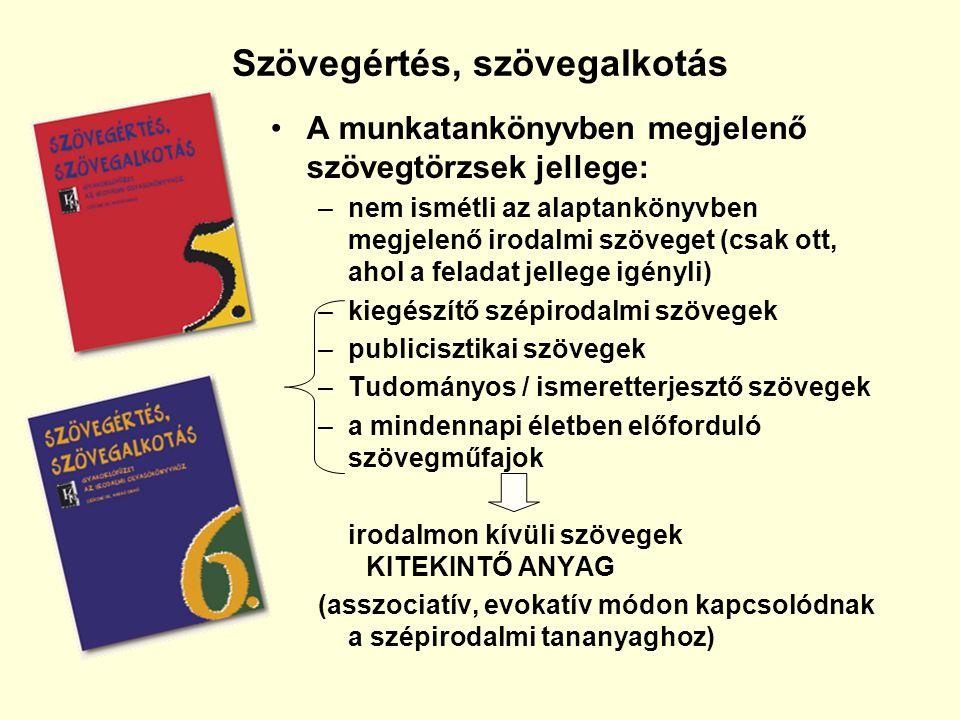 Szövegértés, szövegalkotás A munkatankönyvben megjelenő szövegtörzsek jellege: –nem ismétli az alaptankönyvben megjelenő irodalmi szöveget (csak ott, ahol a feladat jellege igényli) –kiegészítő szépirodalmi szövegek –publicisztikai szövegek –Tudományos / ismeretterjesztő szövegek –a mindennapi életben előforduló szövegműfajok irodalmon kívüli szövegek KITEKINTŐ ANYAG (asszociatív, evokatív módon kapcsolódnak a szépirodalmi tananyaghoz)