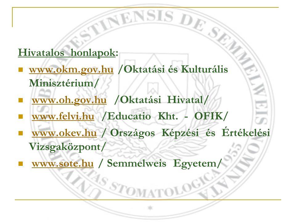 Hivatalos honlapok: www.okm.gov.hu /Oktatási és Kulturális Minisztérium/ www.okm.gov.hu www.oh.gov.hu /Oktatási Hivatal/www.oh.gov.hu www.felvi.hu /Educatio Kht.
