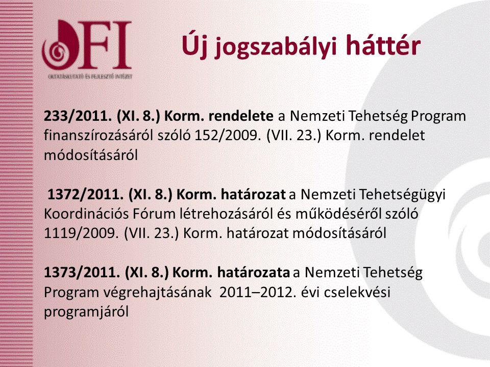Új jogszabályi háttér 233/2011. (XI. 8.) Korm. rendelete a Nemzeti Tehetség Program finanszírozásáról szóló 152/2009. (VII. 23.) Korm. rendelet módosí