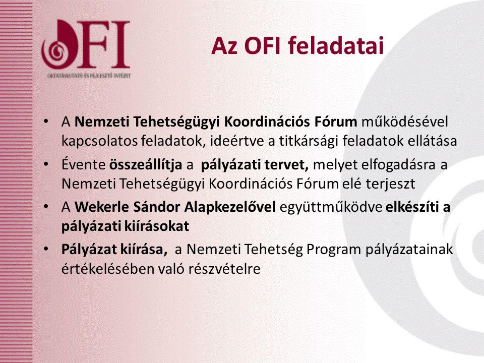 Az OFI feladatai A Nemzeti Tehetségügyi Koordinációs Fórum működésével kapcsolatos feladatok, ideértve a titkársági feladatok ellátása Évente összeáll