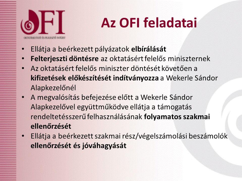 Az OFI feladatai Ellátja a beérkezett pályázatok elbírálását Felterjeszti döntésre az oktatásért felelős miniszternek Az oktatásért felelős miniszter