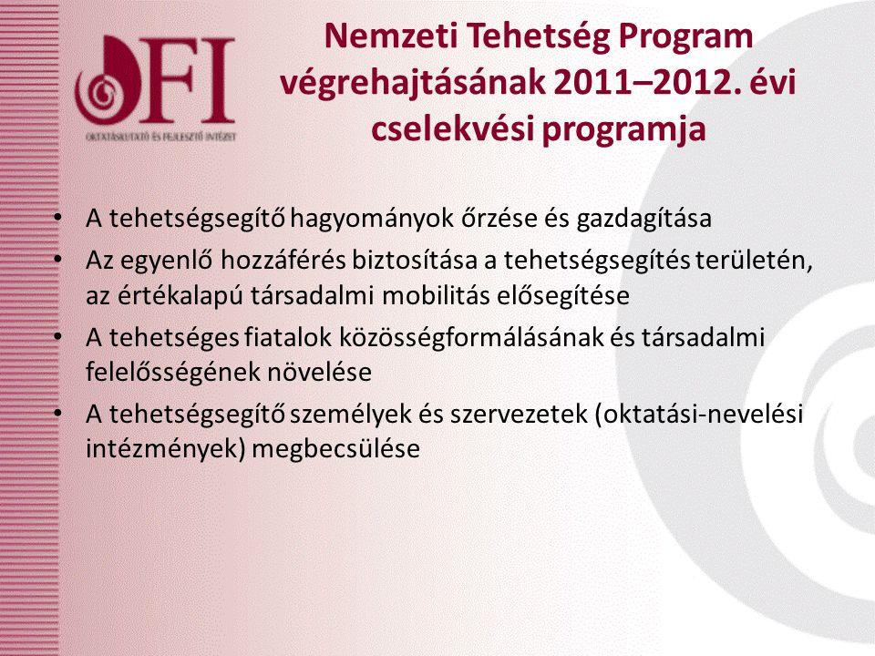 Nemzeti Tehetség Program végrehajtásának 2011–2012. évi cselekvési programja A tehetségsegítő hagyományok őrzése és gazdagítása Az egyenlő hozzáférés