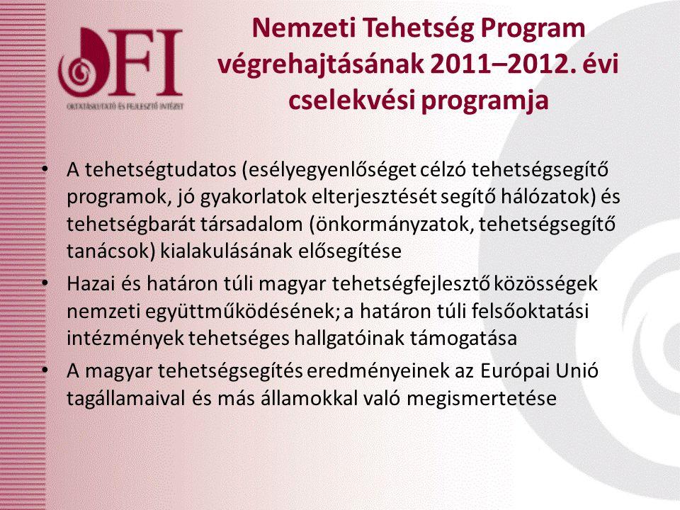 A tehetségtudatos (esélyegyenlőséget célzó tehetségsegítő programok, jó gyakorlatok elterjesztését segítő hálózatok) és tehetségbarát társadalom (önko