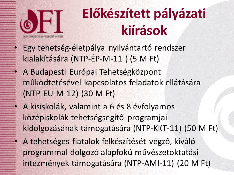 Előkészített pályázati kiírások Egy tehetség-életpálya nyilvántartó rendszer kialakítására (NTP-ÉP-M-11 ) (5 M Ft) A Budapesti Európai Tehetségközpont