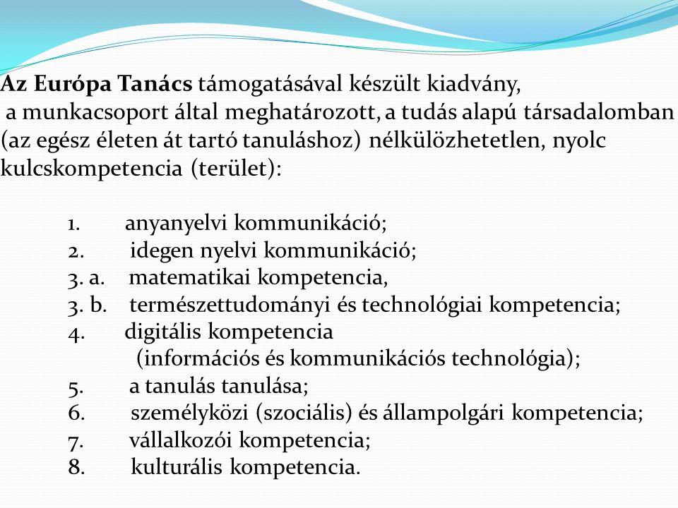 Az Európa Tanács támogatásával készült kiadvány, a munkacsoport által meghatározott, a tudás alapú társadalomban (az egész életen át tartó tanuláshoz) nélkülözhetetlen, nyolc kulcskompetencia (terület): 1.