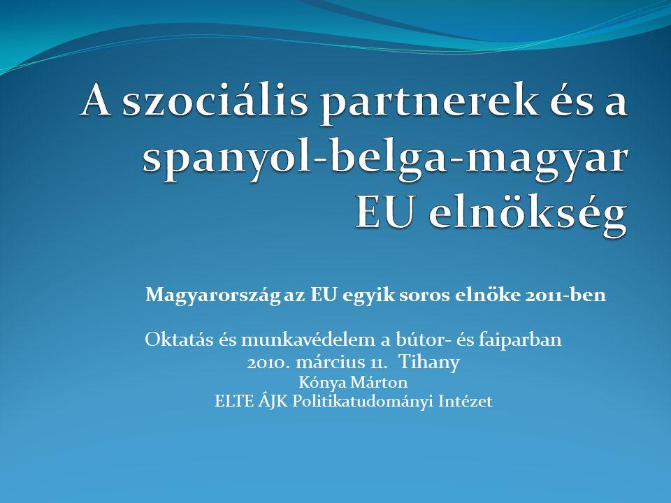 Témák A soros elnökségről dióhéjban A rendelkezésre álló kapcsolati keretek az EU szociális párbeszéd rendszerében az elnökség szempontjából Magyar szociális párbeszéd intézményrendszer az elnökség szempontjából Tagállami tapasztalatok Lehetőségek, azok kihasználásának feltételei