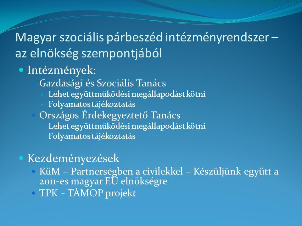 Magyar szociális párbeszéd intézményrendszer – az elnökség szempontjából Intézmények: Gazdasági és Szociális Tanács Lehet együttműködési megállapodást kötni Folyamatos tájékoztatás Országos Érdekegyeztető Tanács Lehet együttműködési megállapodást kötni Folyamatos tájékoztatás Kezdeményezések KüM – Partnerségben a civilekkel – Készüljünk együtt a 2011-es magyar EU elnökségre TPK – TÁMOP projekt