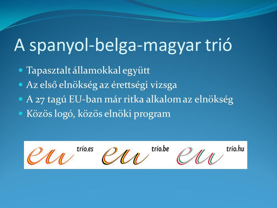 A spanyol-belga-magyar trió Tapasztalt államokkal együtt Az első elnökség az érettségi vizsga A 27 tagú EU-ban már ritka alkalom az elnökség Közös logó, közös elnöki program