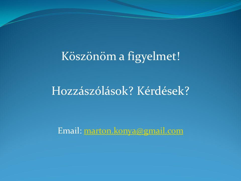 Köszönöm a figyelmet! Hozzászólások Kérdések Email: marton.konya@gmail.commarton.konya@gmail.com
