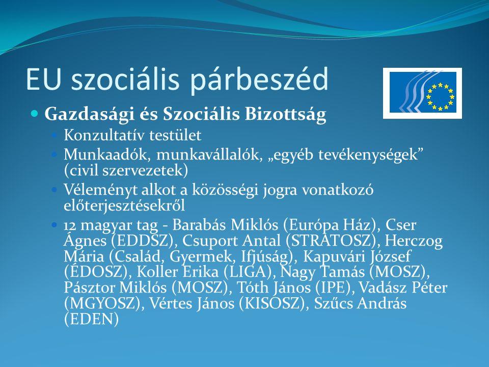 EU szociális párbeszéd A Gazdasági és Szociális Bizottság a döntéshozatalban (forrás: www.mek.oszk.hu)www.mek.oszk.hu