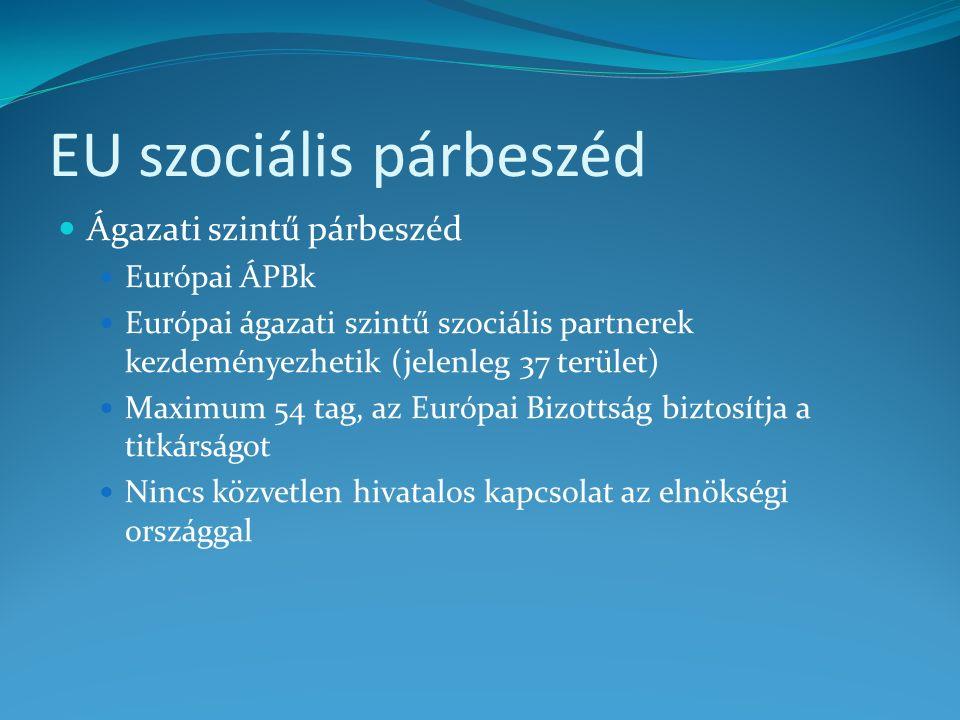 Lehetőségek, feltételek, teendők Közösségi: Tripartit szociális konferenciák Tagszervezeteken keresztül (MGYOSZ – Businesseurope, szakszervezetek – ETUC) Hangsúlyos hazai részvétel az előkészítésben Közösségi és hazai: ÁPBk Hazai és EU szintű ÁPBk kapcsolatának erősítése, ha szükséges Magyar ÁPB gyakorlat bemutatása Hazai: GSZT és OÉT