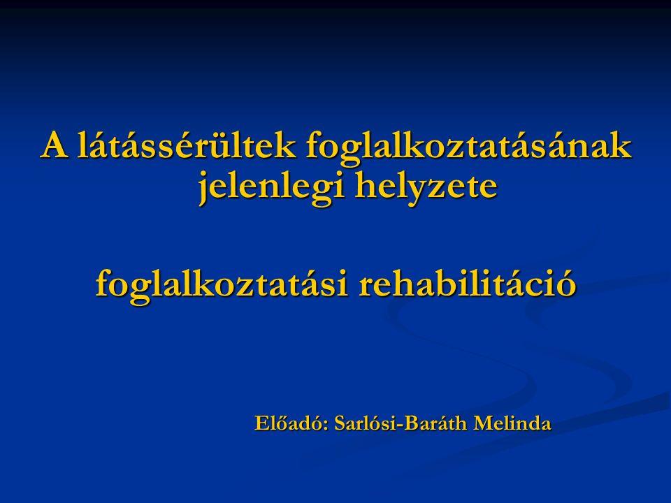 A látássérültek foglalkoztatásának jelenlegi helyzete foglalkoztatási rehabilitáció Előadó: Sarlósi-Baráth Melinda Előadó: Sarlósi-Baráth Melinda