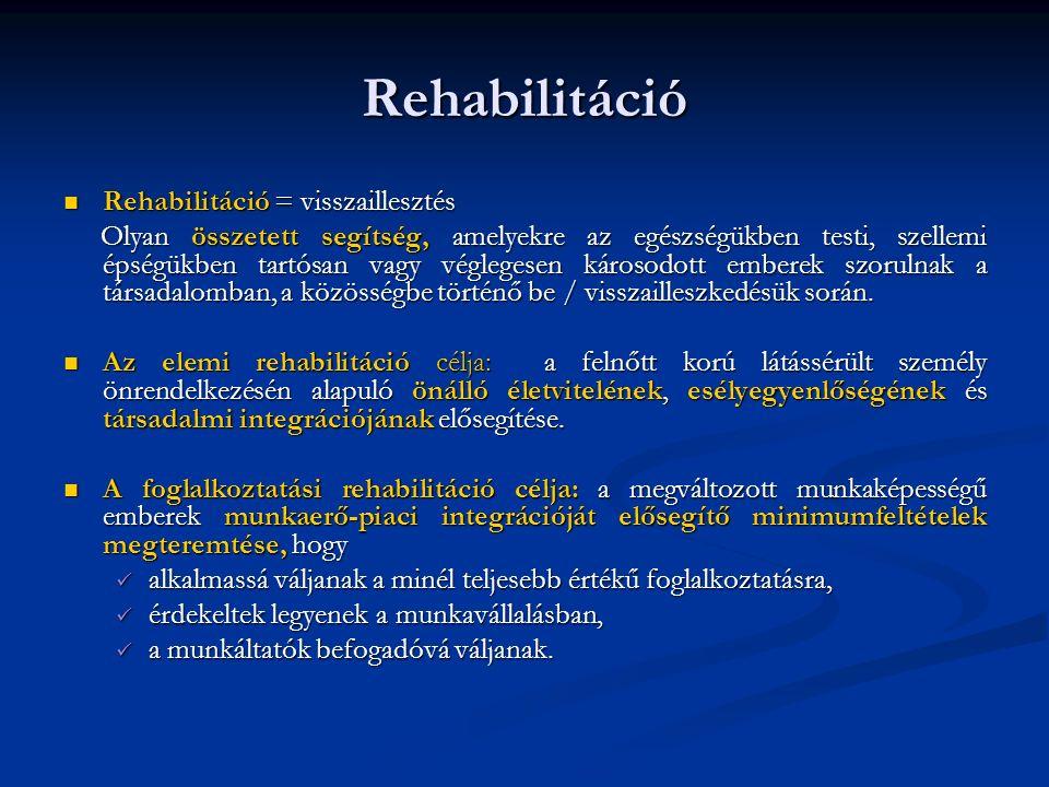 Rehabilitáció Rehabilitáció = visszaillesztés Rehabilitáció = visszaillesztés Olyan összetett segítség, amelyekre az egészségükben testi, szellemi épségükben tartósan vagy véglegesen károsodott emberek szorulnak a társadalomban, a közösségbe történő be / visszailleszkedésük során.