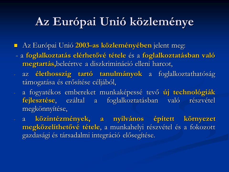 Kiemelt feladatok Az Európai Tanács 2000 márciusában a Lisszabonban tartott értekezletén deklarálta, hogy 2010-re a fogyatékos emberek munkanélküliségi rátája azonos kell, hogy legyen a többségi társadalom rátájával.