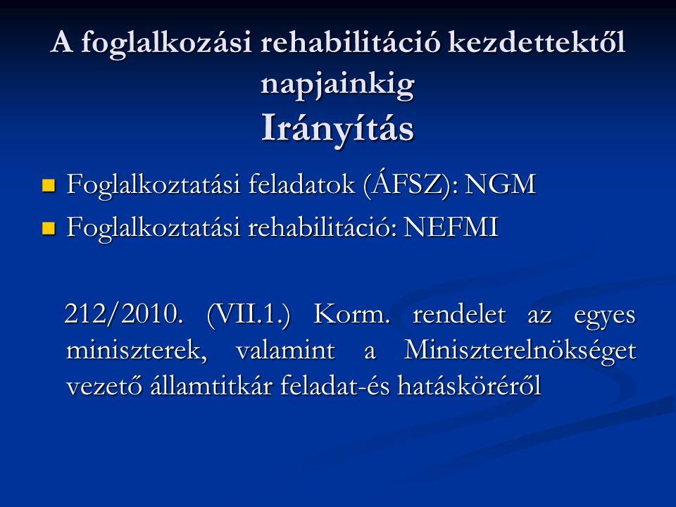 A foglalkozási rehabilitáció kezdettektől napjainkig Irányítás Foglalkoztatási feladatok (ÁFSZ): NGM Foglalkoztatási feladatok (ÁFSZ): NGM Foglalkoztatási rehabilitáció: NEFMI Foglalkoztatási rehabilitáció: NEFMI 212/2010.