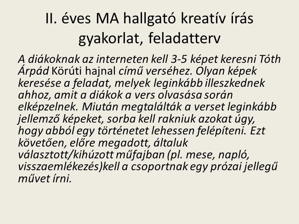 II. éves MA hallgató kreatív írás gyakorlat, feladatterv A diákoknak az interneten kell 3-5 képet keresni Tóth Árpád Körúti hajnal című verséhez. Olya