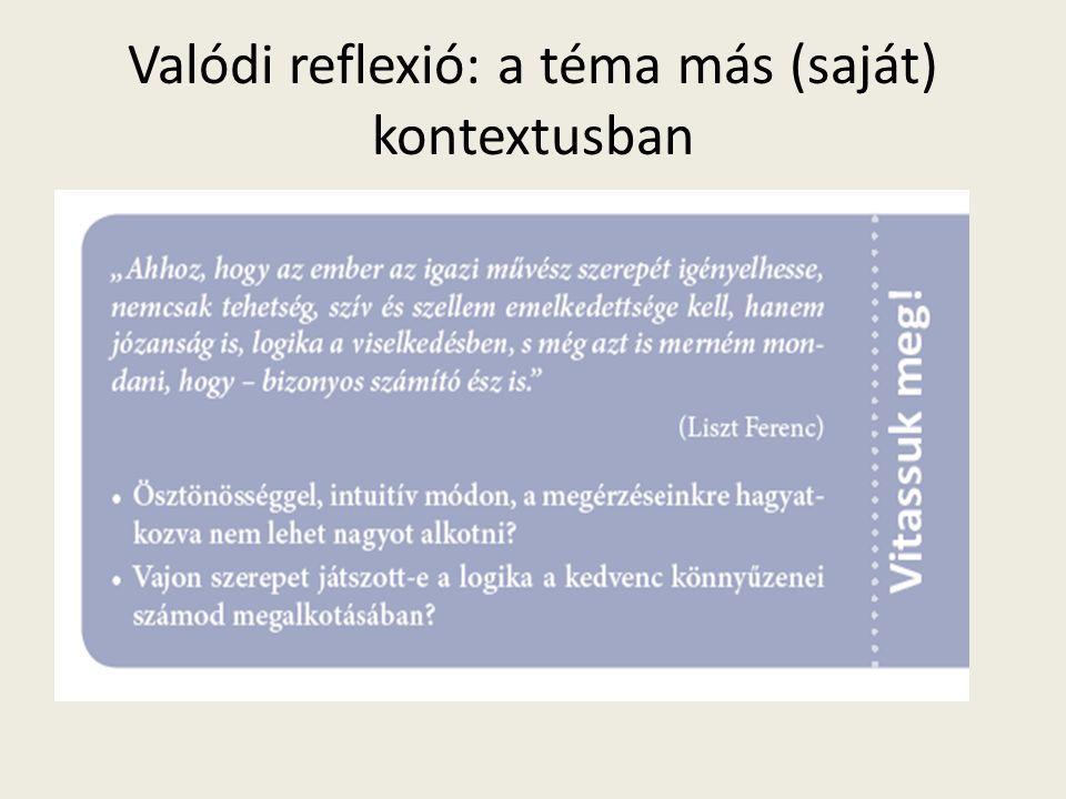 Valódi reflexió: a téma más (saját) kontextusban