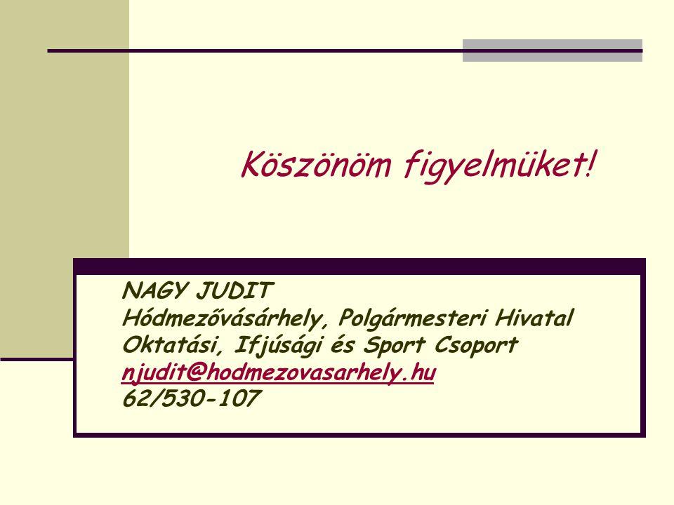 NAGY JUDIT Hódmezővásárhely, Polgármesteri Hivatal Oktatási, Ifjúsági és Sport Csoport njudit@hodmezovasarhely.hu 62/530-107 Köszönöm figyelmüket!