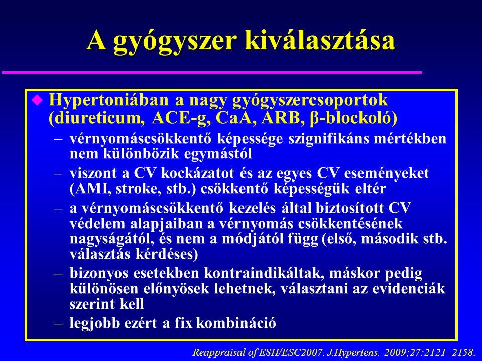 A gyógyszer kiválasztása u Hypertoniában a nagy gyógyszercsoportok (diureticum, ACE-g, CaA, ARB, β-blockoló) –vérnyomáscsökkentő képessége szignifikáns mértékben nem különbözik egymástól –viszont a CV kockázatot és az egyes CV eseményeket (AMI, stroke, stb.) csökkentő képességük eltér –a vérnyomáscsökkentő kezelés által biztosított CV védelem alapjaiban a vérnyomás csökkentésének nagyságától, és nem a módjától függ (első, második stb.