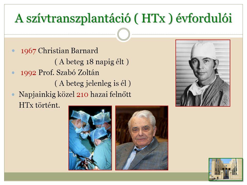 A szívtranszplantáció ( HTx ) évfordulói 1967 Christian Barnard ( A beteg 18 napig élt ) 1992 Prof.