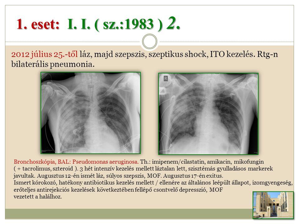 2012 július 25.-től láz, majd szepszis, szeptikus shock, ITO kezelés.