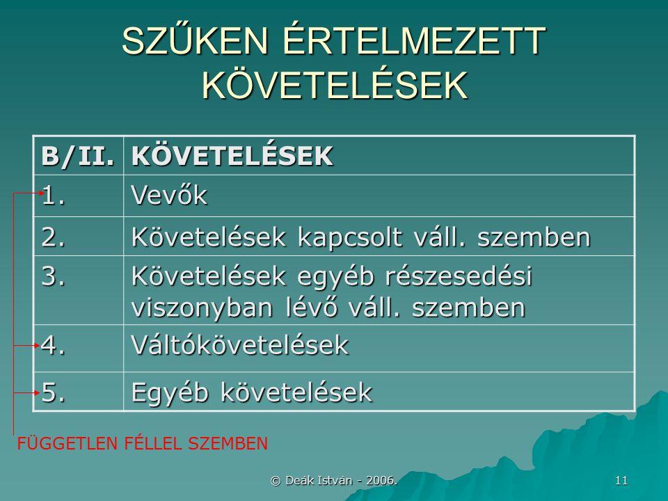 © Deák István - 2006. 11 SZŰKEN ÉRTELMEZETT KÖVETELÉSEK B/II.KÖVETELÉSEK 1.Vevők 2.