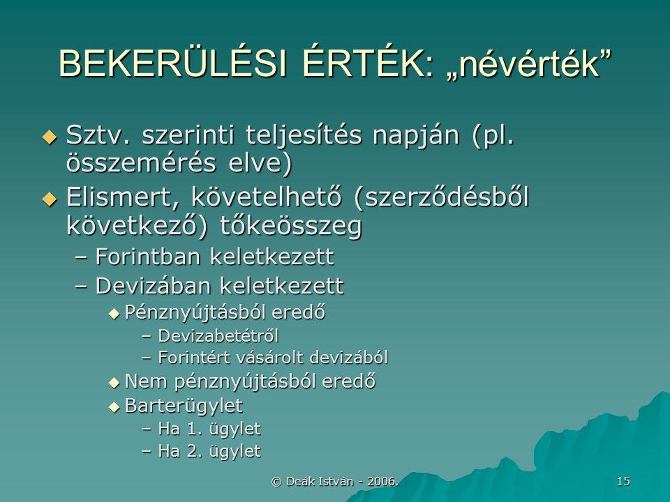 """© Deák István - 2006. 15 BEKERÜLÉSI ÉRTÉK: """"névérték  Sztv."""