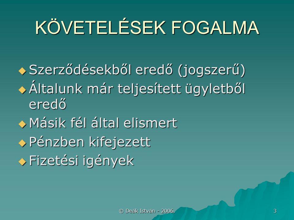 © Deák István - 2006.54 KÖVETELÉSEK kapcsolt, ill.
