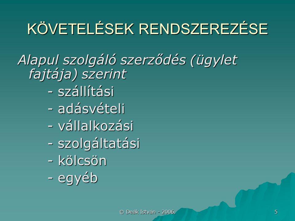 © Deák István - 2006.26 További példák MegnevezésGHIJ Bek.