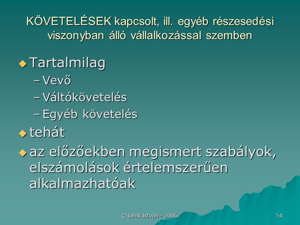 © Deák István - 2006. 54 KÖVETELÉSEK kapcsolt, ill.
