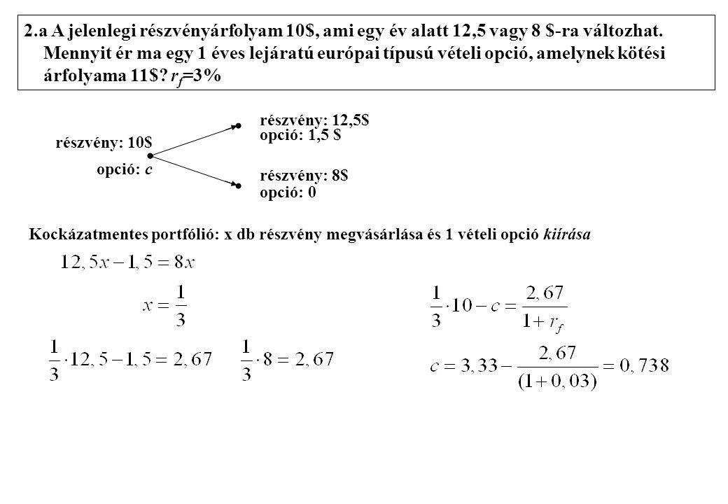 2.a A jelenlegi részvényárfolyam 10$, ami egy év alatt 12,5 vagy 8 $-ra változhat.