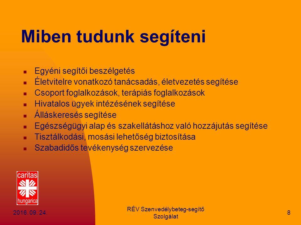 2016.09. 24. RÉV Szenvedélybeteg-segítő Szolgálat 9 3300 Eger, Kolozsvári u.