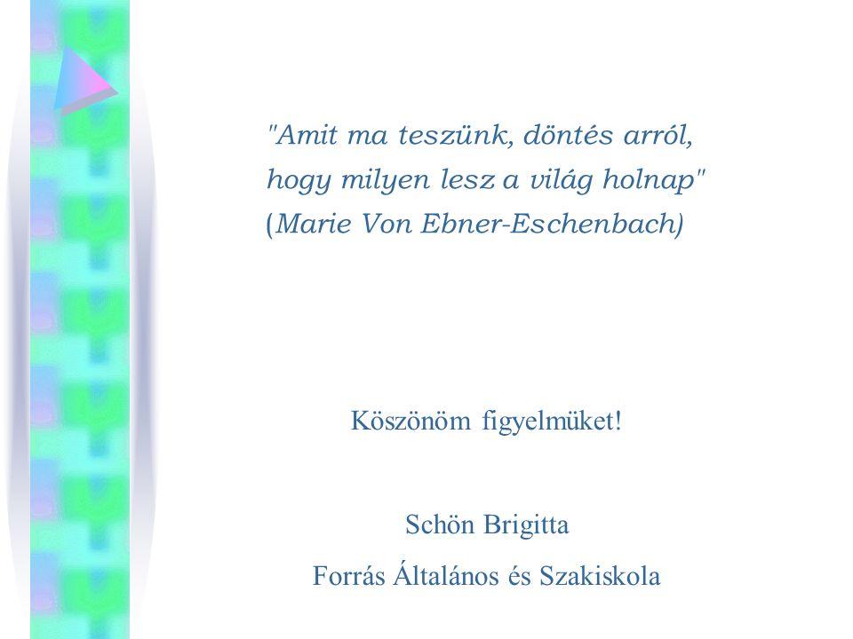 Amit ma teszünk, döntés arról, hogy milyen lesz a világ holnap ( Marie Von Ebner-Eschenbach) Köszönöm figyelmüket.