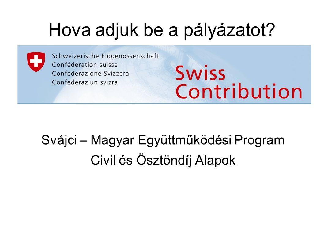 Hova adjuk be a pályázatot Svájci – Magyar Együttműködési Program Civil és Ösztöndíj Alapok
