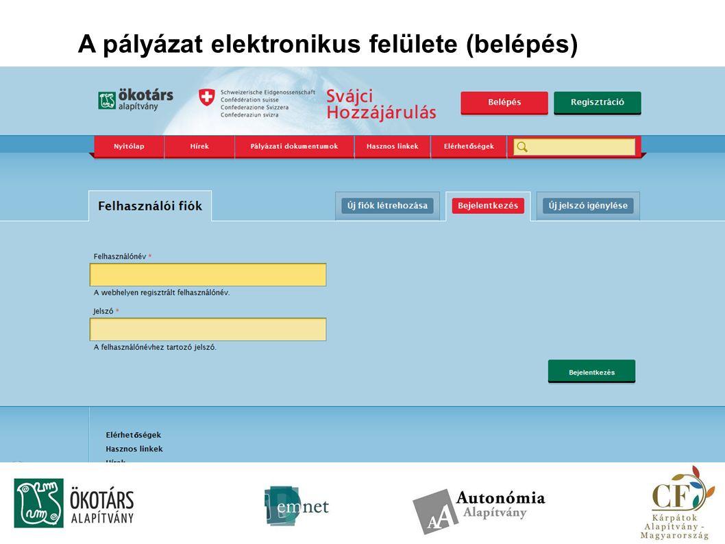 A pályázat elektronikus felülete (belépés)