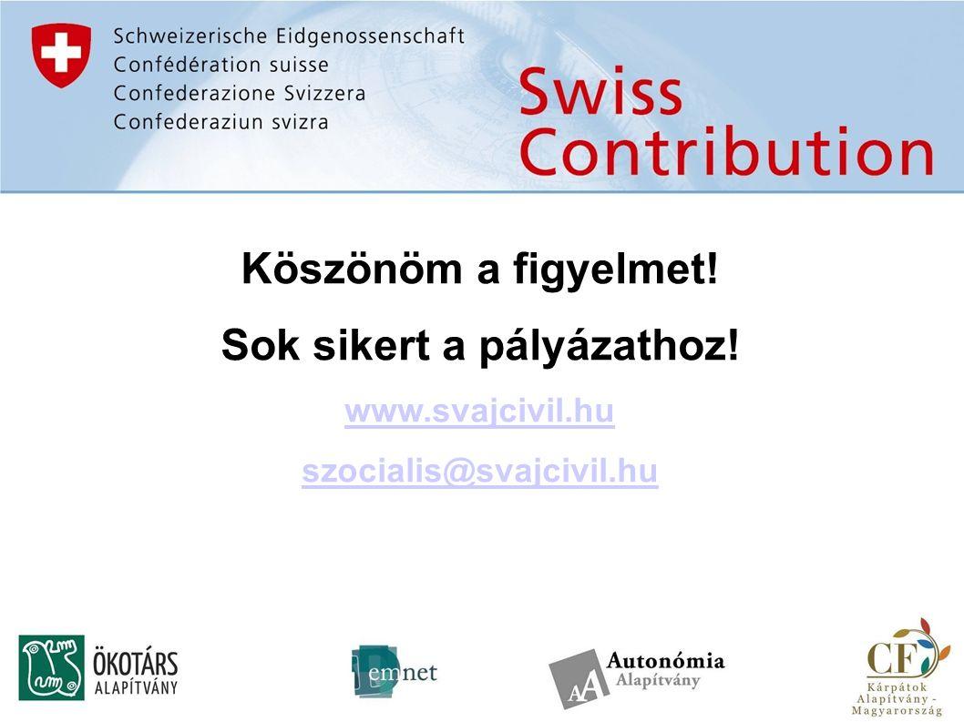 Köszönöm a figyelmet! Sok sikert a pályázathoz! www.svajcivil.hu szocialis@svajcivil.hu