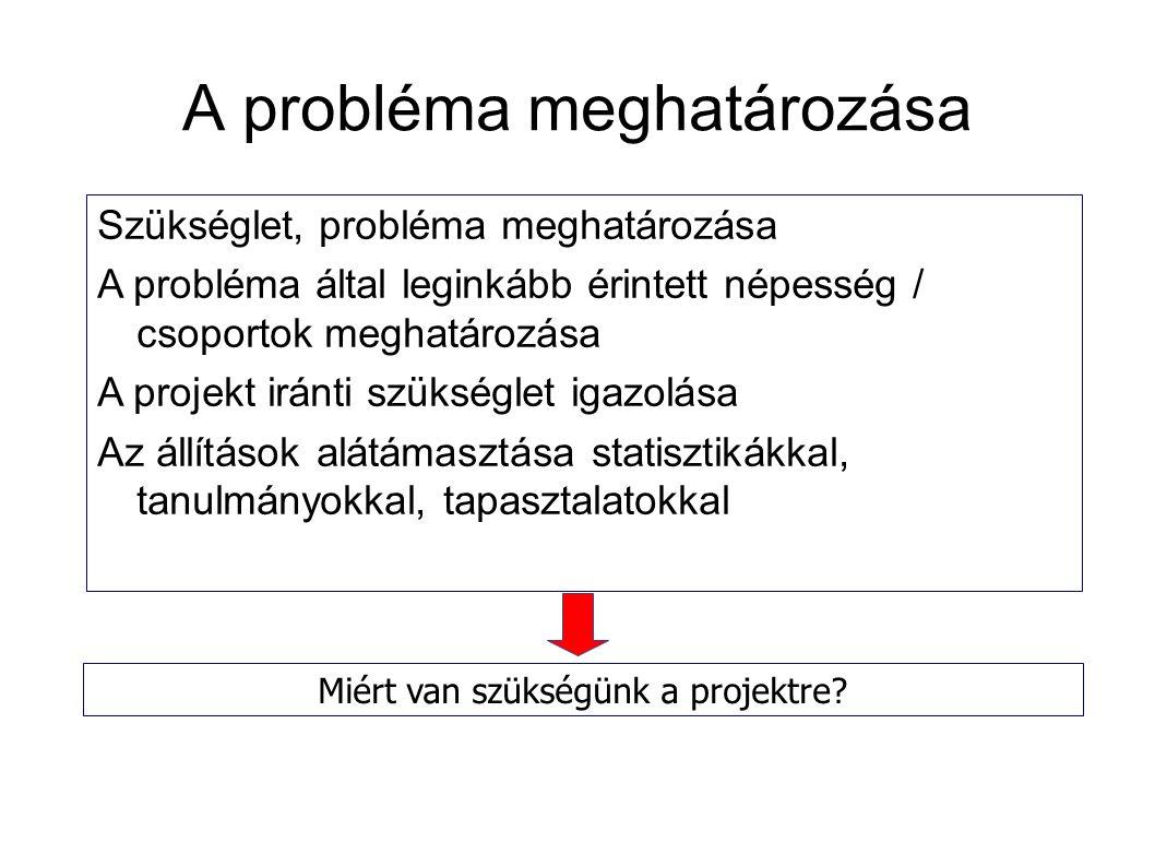 A probléma meghatározása Szükséglet, probléma meghatározása A probléma által leginkább érintett népesség / csoportok meghatározása A projekt iránti szükséglet igazolása Az állítások alátámasztása statisztikákkal, tanulmányokkal, tapasztalatokkal Miért van szükségünk a projektre