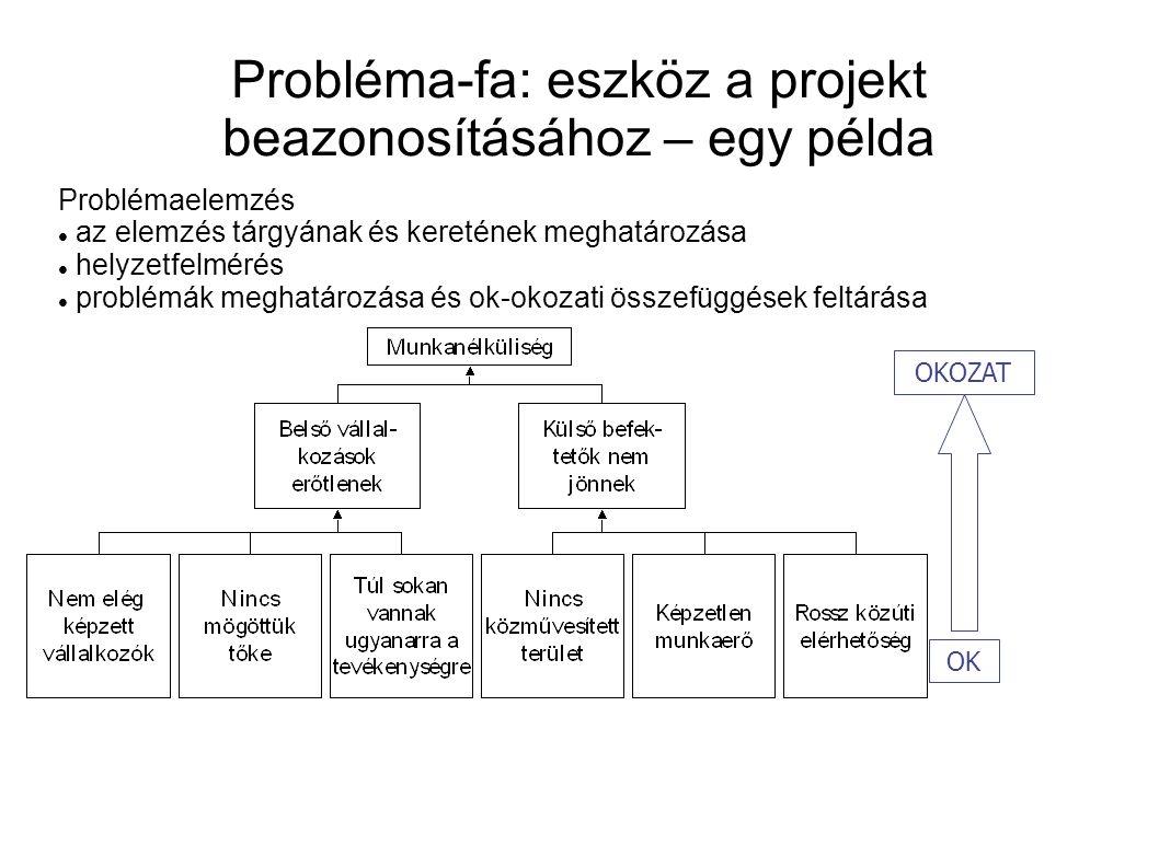 Probléma-fa: eszköz a projekt beazonosításához – egy példa OK OKOZAT Problémaelemzés az elemzés tárgyának és keretének meghatározása helyzetfelmérés problémák meghatározása és ok-okozati összefüggések feltárása