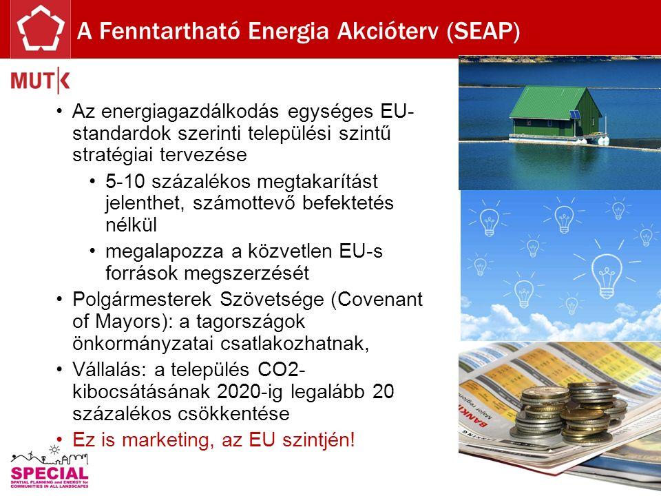 Az energiagazdálkodás egységes EU- standardok szerinti települési szintű stratégiai tervezése 5-10 százalékos megtakarítást jelenthet, számottevő befektetés nélkül megalapozza a közvetlen EU-s források megszerzését Polgármesterek Szövetsége (Covenant of Mayors): a tagországok önkormányzatai csatlakozhatnak, Vállalás: a település CO2- kibocsátásának 2020-ig legalább 20 százalékos csökkentése Ez is marketing, az EU szintjén.