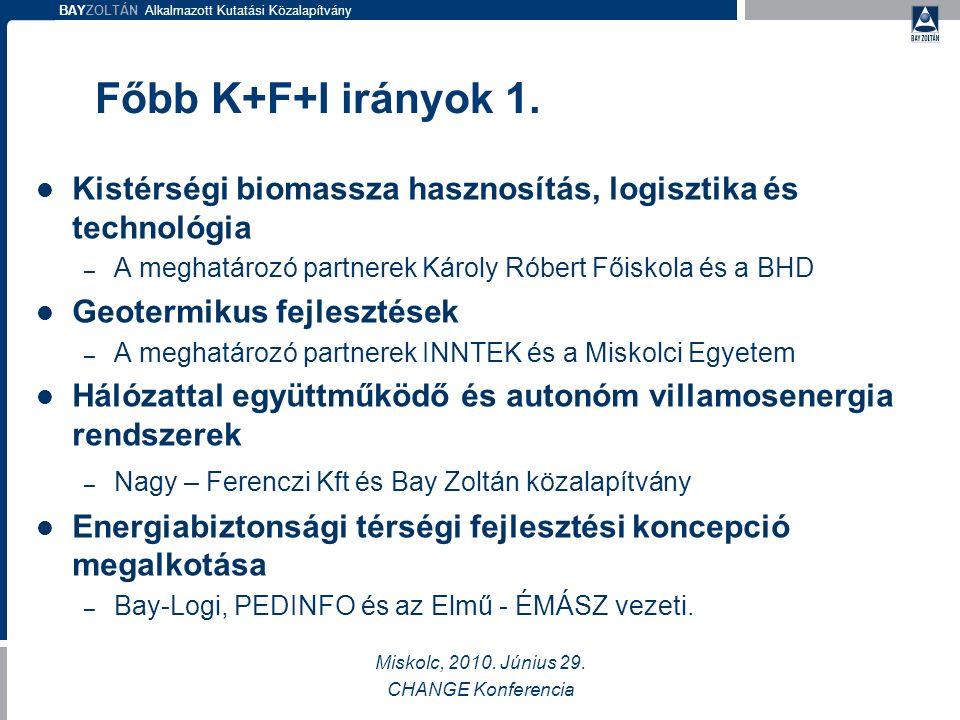 BAYZOLTÁN Alkalmazott Kutatási Közalapítvány Főbb K+F+I irányok 1.