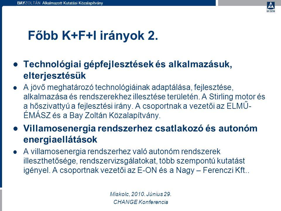 BAYZOLTÁN Alkalmazott Kutatási Közalapítvány Főbb K+F+I irányok 2.