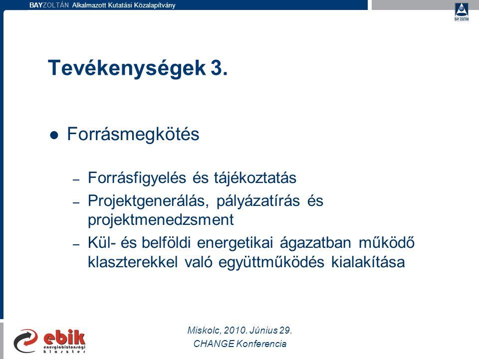 BAYZOLTÁN Alkalmazott Kutatási Közalapítvány Tevékenységek 3.