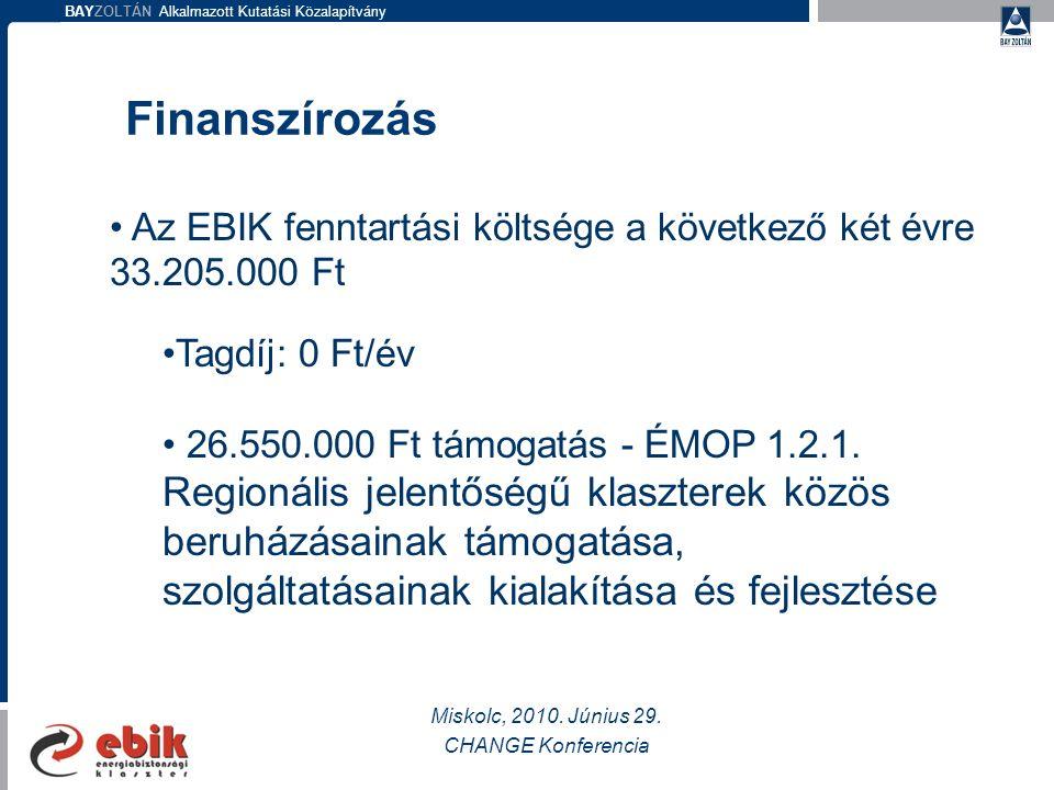BAYZOLTÁN Alkalmazott Kutatási Közalapítvány Finanszírozás Miskolc, 2010.