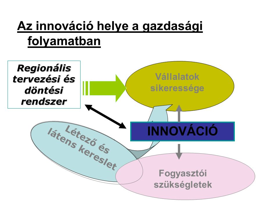 Az innováció helye a gazdasági folyamatban Vállalatok sikeressége INNOVÁCIÓ Fogyasztói szükségletek Létező és látens kereslet Regionális tervezési és döntési rendszer