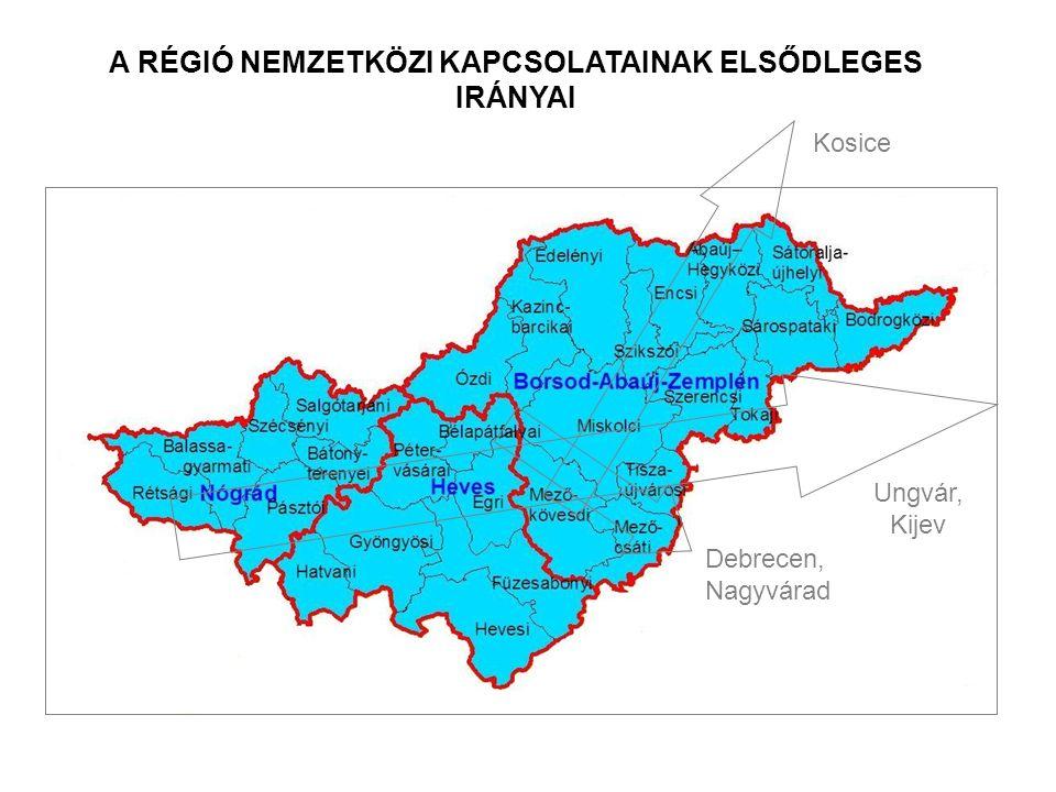 Ungvár, Kijev Debrecen, Nagyvárad Kosice A RÉGIÓ NEMZETKÖZI KAPCSOLATAINAK ELSŐDLEGES IRÁNYAI