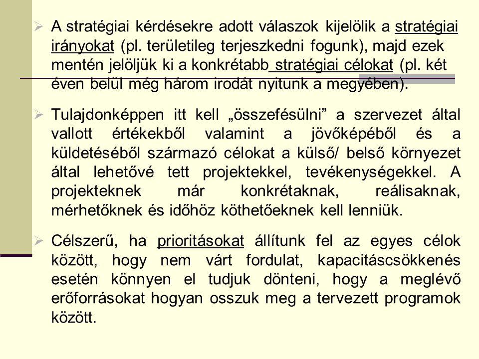  A stratégiai kérdésekre adott válaszok kijelölik a stratégiai irányokat (pl.