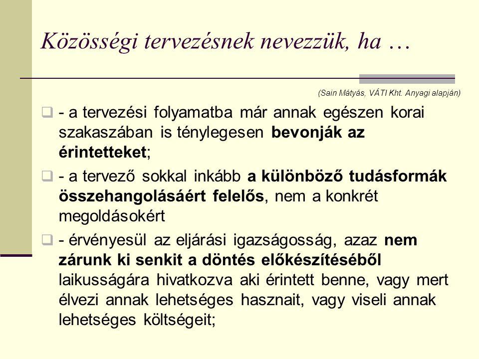 Közösségi tervezésnek nevezzük, ha … (Sain Mátyás, VÁTI Kht.