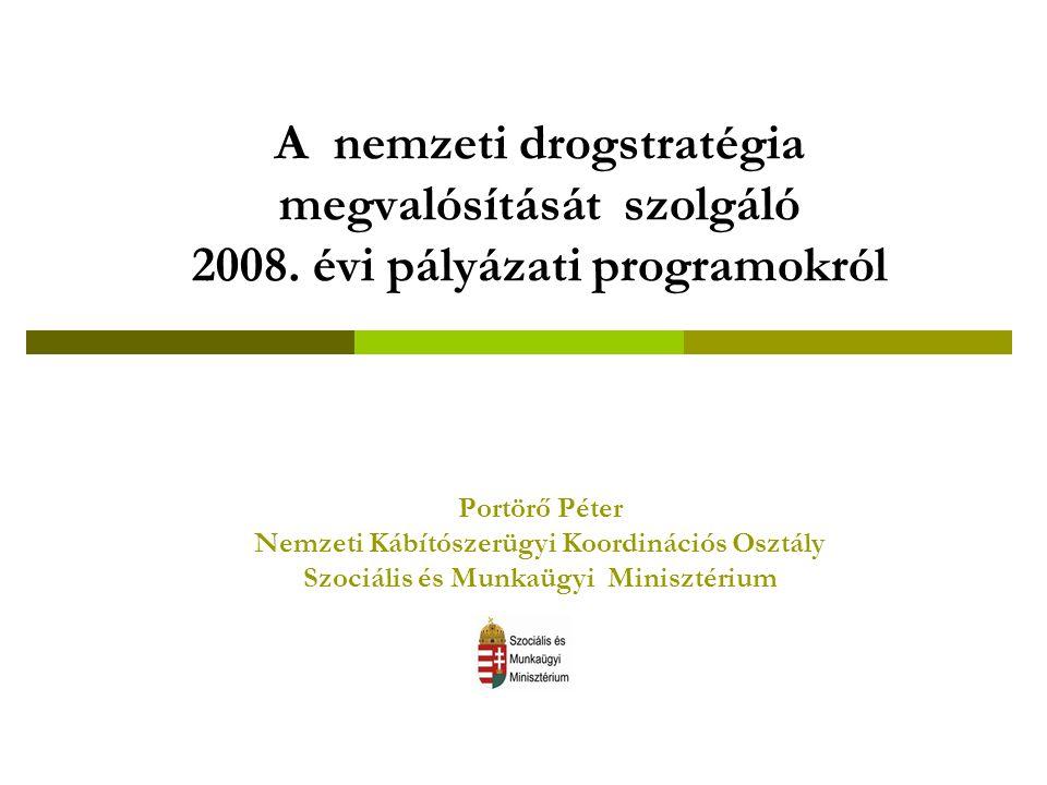 A nemzeti drogstratégia megvalósítását szolgáló 2008. évi pályázati programokról Portörő Péter Nemzeti Kábítószerügyi Koordinációs Osztály Szociális é