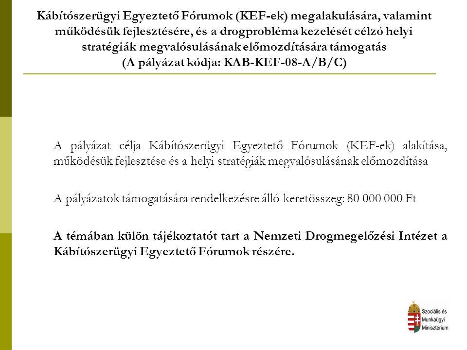 Kábítószerügyi Egyeztető Fórumok (KEF-ek) megalakulására, valamint működésük fejlesztésére, és a drogprobléma kezelését célzó helyi stratégiák megvalósulásának előmozdítására támogatás (A pályázat kódja: KAB-KEF-08-A/B/C) A pályázat célja Kábítószerügyi Egyeztető Fórumok (KEF-ek) alakítása, működésük fejlesztése és a helyi stratégiák megvalósulásának előmozdítása A pályázatok támogatására rendelkezésre álló keretösszeg: 80 000 000 Ft A témában külön tájékoztatót tart a Nemzeti Drogmegelőzési Intézet a Kábítószerügyi Egyeztető Fórumok részére.