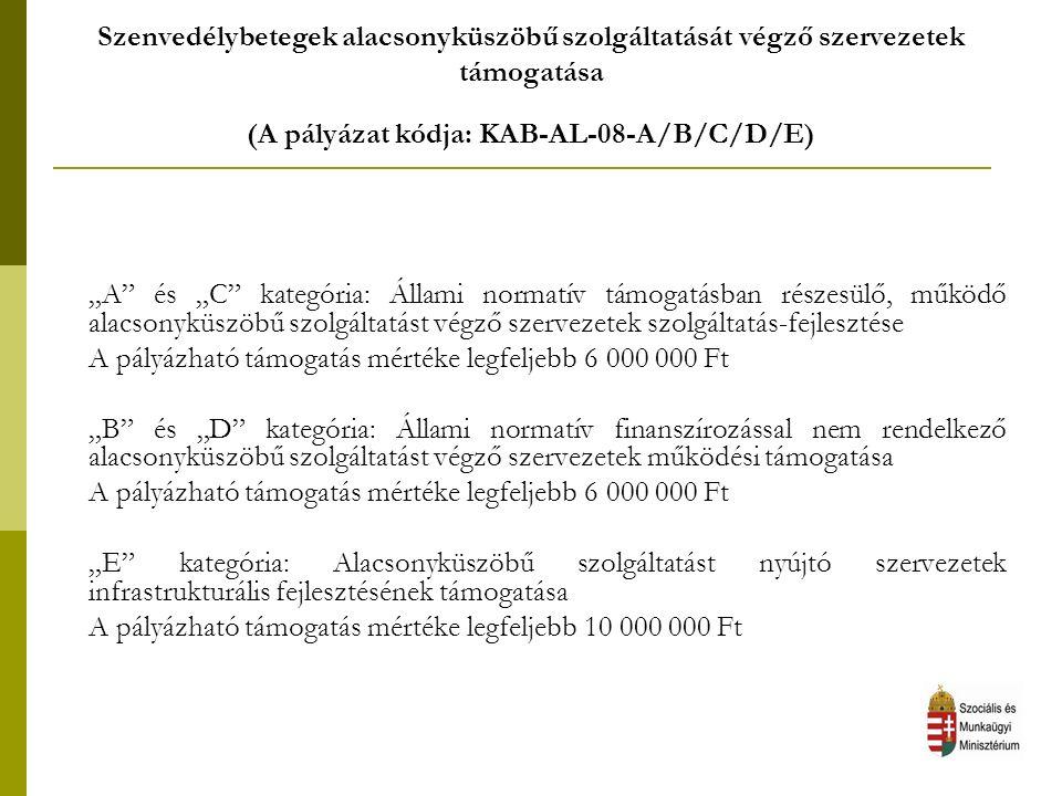 Szenvedélybetegek reszocializációját, reintegrációját elősegítő fejlesztések támogatása (A pályázat kódja: KAB-RE-08-A/B/C) A pályázat célja a józan szenvedélybetegek reszocializációját, reintegrációját elősegítő fejlesztések, programok megvalósítása (relapszus prevenció).